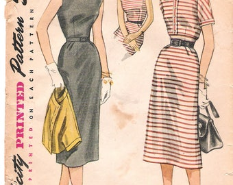 Simplicity 4189 1950s Wiggle Dress and Jacket Vintage Sewing Pattern Sleeveless Dress Simple to Make