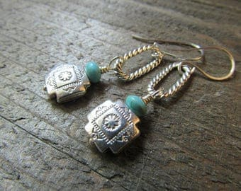 Cowgirl Ropers Earrings - Silver Conchos with Turquoise Beads Dangling from Silver Rope Oval Hoops - Southwestern Jewelry