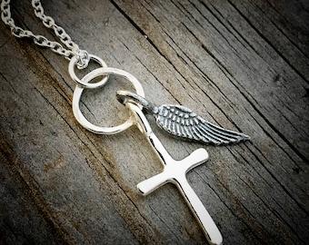 Sterling Silver Cross Necklace Angel Wing Necklace Wild Prairie Silver Jewelry Handmade By Joy Kruse