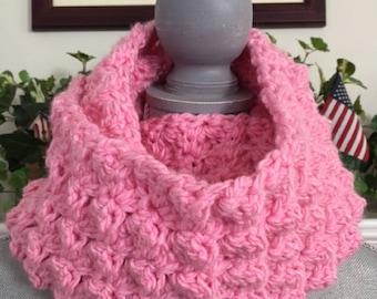 "crochet handmade bulky chunky yarn Infinity Cowl Scarf Soft cozy stylish comfy warm wide PINK 7""x 82"" new"