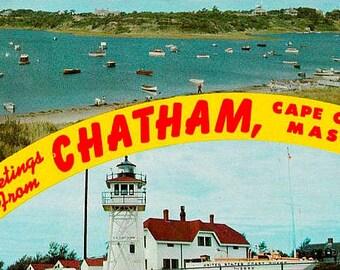 Vintage Cape Cod Postcard - Greetings from Chatham (Unused)