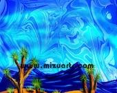 Desert Blues -  Original Surreal Joshua Tree Desert Landscape  Painting by Mizu