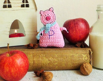 Monogram Ornament - Pig Ornament - Christmas Ornament - Baby Ornament - Pig Gift -  Crochet Pig - Personalized Gift - Gift for Kids