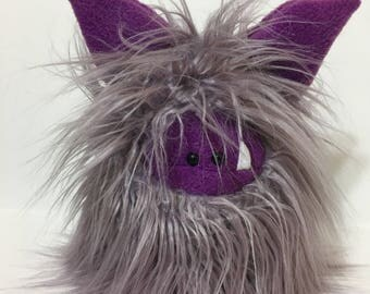 Handstitched Monster Winged Toy - Fuzzling Flutter - Cute Stuffed Monster - Monster Softie - Plush Monster Doll - Handmade Plush Animal Toy