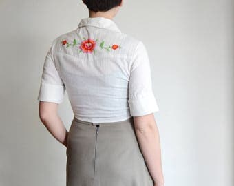 Western 1970s Floral Embroidered Crop Blouse - XS/S