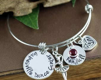 Dance Teacher Gift, Dancer Bracelet, Personalized Bangle Bracelet, Dancing Bracelet, Silver Bangle Charm Bracelet, Ballet Slipper Bangle