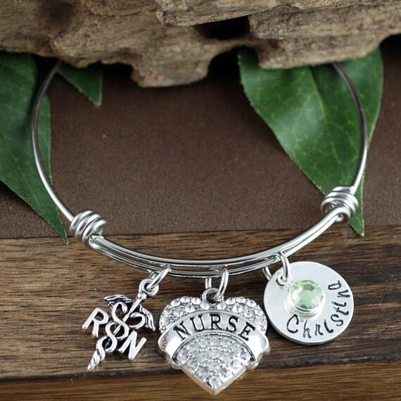 Personalized Nurse Bangle Bracelet, Nurse Gift, Gift for Nurses, Engraved Bracelet, Graduation Gift for Nurse,Nursing Jewelry,Charm Bracelet
