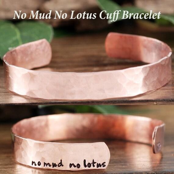 No Mud No Lotus Bracelet, Lotus Flower Bracelet, Personalized Cuff Bracelet, Skinny Cuff, Hand Stamped Yoga Bracelet, Inspirational Bracelet