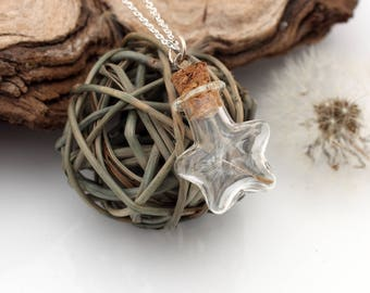Dandelion wish star glass vial pendant with dandelion clock seed- Great spring eco jewellery- Wholesale and wedding favours available