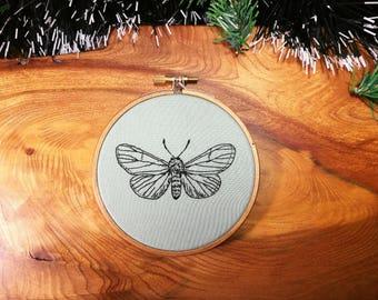 Handmade embroidered blackwork moth 4 inch hoop