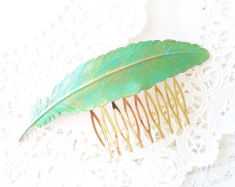 Patina Feather Hair Comb - Woodland Feather Hair Comb - Large Green Patina Feather - Wedding Hair - Bridal Hair Accessory - Green Verdigris