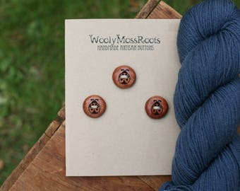 3 Wooden Ladybug Buttons- Red Cedar Wood- Wooden Buttons- Eco Craft Supplies, Eco Knitting Supplies, Eco Sewing Supplies