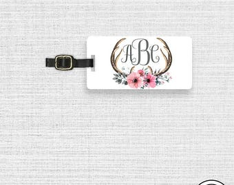 Luggage Tag,  Name or Monogram on Front, Printed Personalization Address on Back Single tag Floral Boho Chic Antler