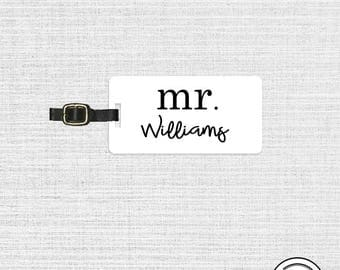 Luggage Tag Mr Last Custom Name Luggage Tag Metal Tags, Single Tag With Strap