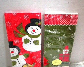 Choice 1 VINTAGE Hallmark Paper Christmas Tablecloth, Party Ware, Snowmen or Red Bird on Packages, Ephemera Paper Crafts Scrapbook Collage