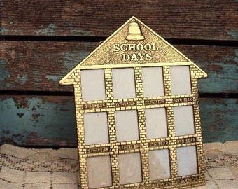 Vintage Brass Frame School Days Childs School Pictures Brick School House Display Bell 1990s  Wallet Size Photo Wall Hanging Easel Stand
