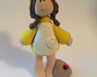 Custom made Polymer Clay Miniature Yellow Daisy Girl with Pet Puppy