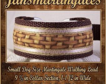 "Jansmartingales, Brown Dog Collar Leash Combination Walking Lead,  Italian Greyhound, Small Dog Size, 9 1/2"" Collar Section, Ibrn023"