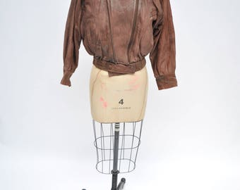 vintage leather jacket womens bomber oversized small  boyfriend 1980s
