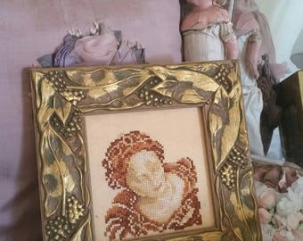 handmade gifts, handmade embroidery, art nouveau woman, FABULOUS frame, cross stitch embroidery, gold 3D frame