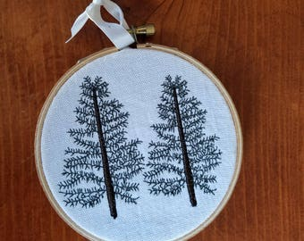 Pine Trees Embroidered Wall Hanging Home Decor Handmade Gift