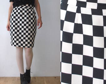 80s 90s MOSCHINO Cheap and Chic skirt. balloon pencil skirt. black and white check skirt - medium