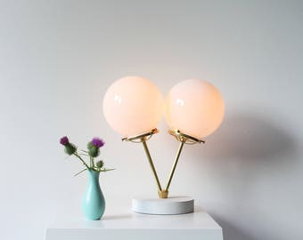 Twin Globe Table Lamp, FREE Shipping, Modern Brass Lamp With 2 White Glass Globe Shades