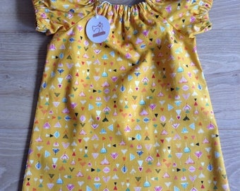 Simple Cotton Dress - girls age 4-5 - mustard geometric