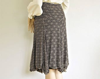"Slinky 1980's 1990's Skirt Vintage Stretchy Flare Gypsy Elastic 28"" Waist Kerchief Hem Lined Skirt Small"