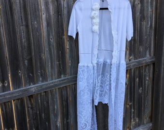 Altered White Asymmetrical Vest, BoHo style,shabby chic romantic tunic, Small, cottage chic, Magnolia Pearl girl style,Crocheted Lace bottom