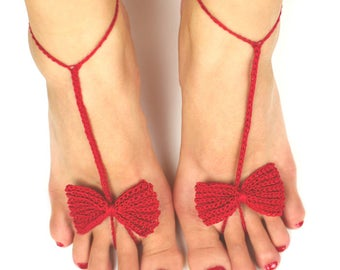 Bow Tie Barefoot Sandals - PDF Crochet Pattern - Instant Download