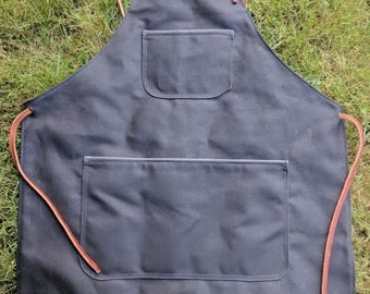 Waxed Canvas and Leather Cross Back Apron