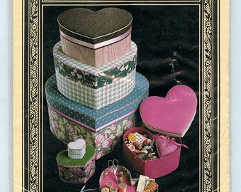 Vintage Fabric Covered Heart Shape Box Pattern- Within My Heart 019 by Amity Publications- Six Sizes with Padded Lids and Tray Inserts