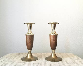 Vintage Modern Brass and Wood Candlesticks, Set of Two