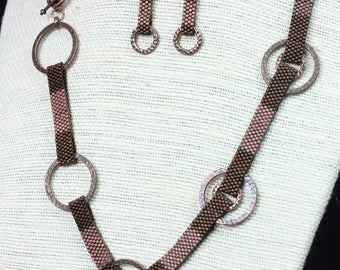 Brown beaded link necklace set