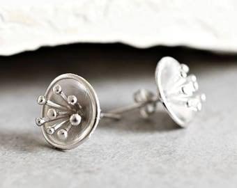 "925 Silver Mini Ear Studs ""Ornithogalum arabicum"""