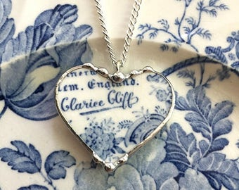 Recycled china: Soft powder blue toile English transferware - reversible broken china jewelry - heart pendant necklace