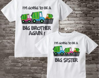 Personalized Set of 2, Big Brother and Big Sister Garbage Truck Tee Shirts or Onesies, I'm going to be, neutral sex baby truck 03012012d