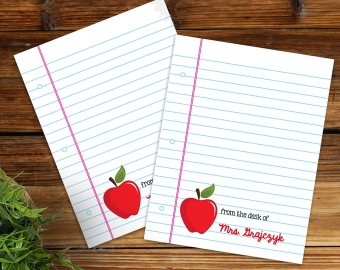 Personalized Apple Teacher Notes - Teacher Gifts or Back to School | Self-Editing - INSTANT Download DIY Printable PDF