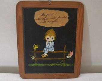 Vintage 1970s Wood Frame Slate with Tole Painting