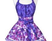 Flirty Chic Retro Apron - Womens Sexy Purple Violets Vintage Inspired Hostess Pinup Apron (DP)