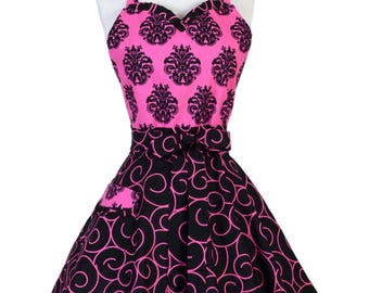 Sweetheart Pinup Womans Apron , Sexy Pink and Black Damask and Scrolls Cute and Flirty Vintage Inspired Kitchen Apron with Pocket (DM)