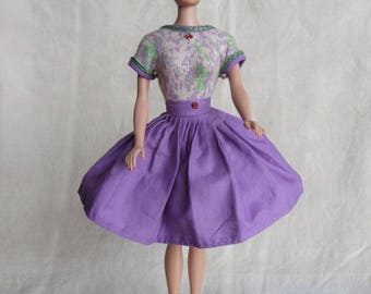 Vintage Barbie Clone Polly by Valentine Dress with Rhinestones Purple