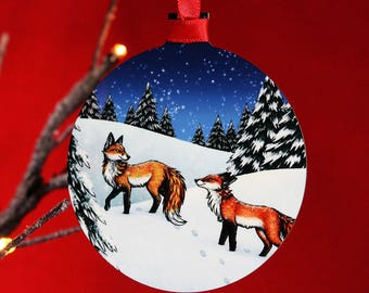 Single (x1) Winter Foxes Illustration Christmas Tree Decoration
