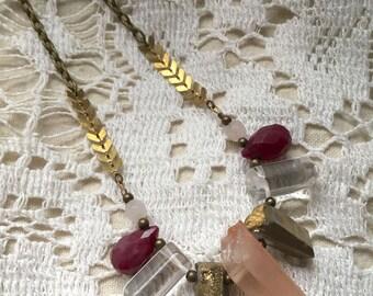 Quartz Points Stone Bib Necklace - Antique Brass Chain - 18-inch Necklace
