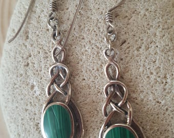 New Listing Sale...Beautiful Emerald Green Malachite Sterling Infinity 925 Earrings. Israel Earrings 925. Malachite Green 925 Earrings
