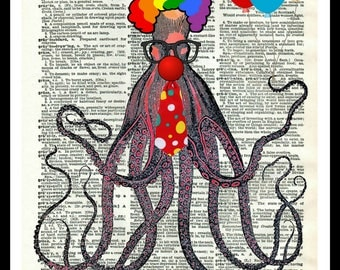 "Vintage Art Print ""Octo Clown"" Octopus on Vintage Dictionary Page Reproduction Instant Digital Download, Unframed,  JPG and PDF 8 x 10"""