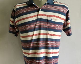 Vintage Men's 80's Striped Polo Shirt, Geometric Printed, Short Sleeve (S/M)