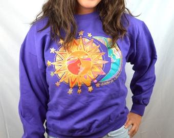 Vintage 80s Laurel Burch Purple Sun Moon Sweatshirt