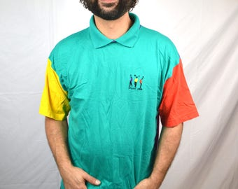 Vintage 80s Colorblock Rainbow UMEN Shirt